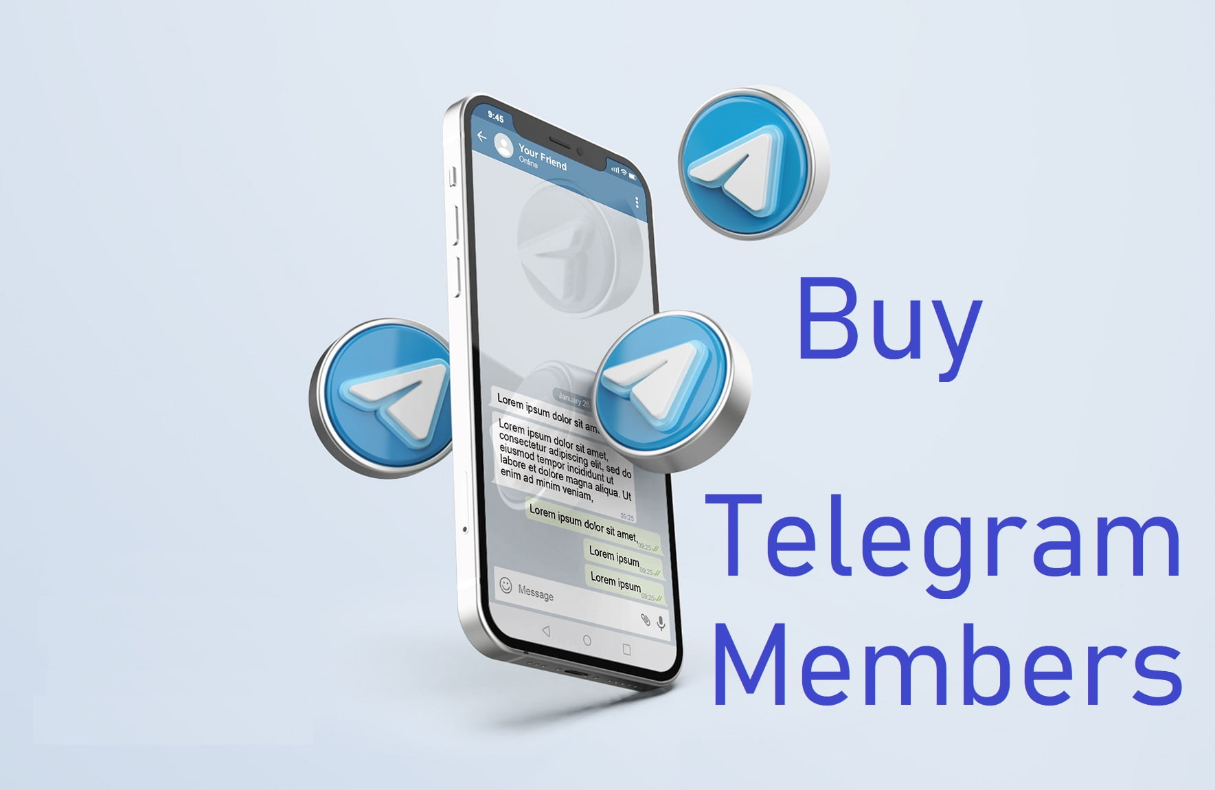 Telegram on Silver Mobile Phone Mockup with 3d icons